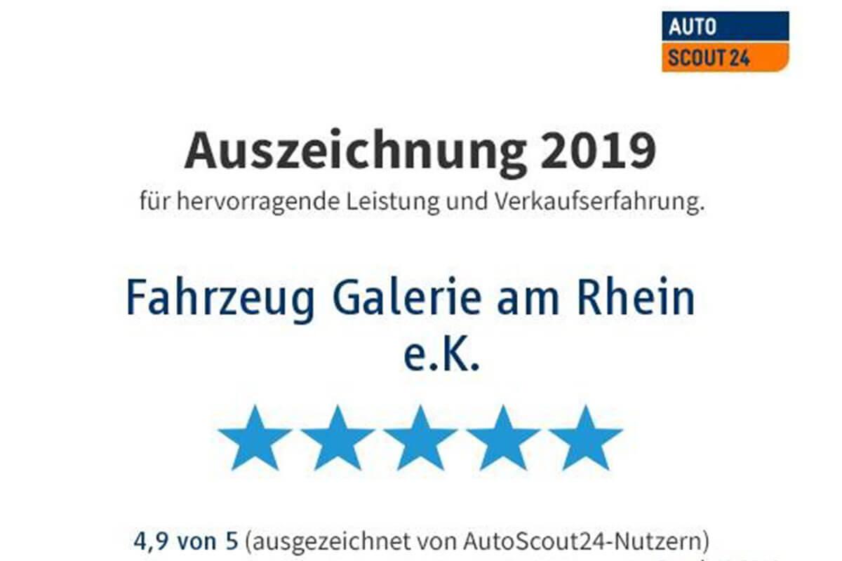 Auszeichnung Autoscout24 für Fahrzeug Galerie am Rhein e.K. für hervorragende Leistungen 2019